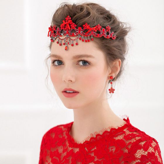 Fleurs De Tete Mariée / Boucles D'oreilles Diamant Rouge Robe Toast Accessoire