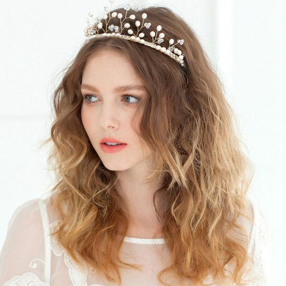 Tak Vorm Kroon Parel Hoofdtooi / Gouden Luxe Vintage Bruids Haaraccessoires