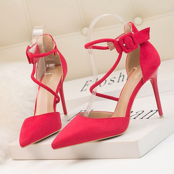 Chic / Beautiful Fuchsia Cocktail Party Suede Womens Sandals 2020 Ankle Strap 10 cm Stiletto Heels Pointed Toe Sandals
