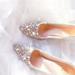 Charming Silver Handmade  Wedding Shoes 2020 Leather Lace Rhinestone Sequins 7 cm Stiletto Heels Pointed Toe Wedding Pumps