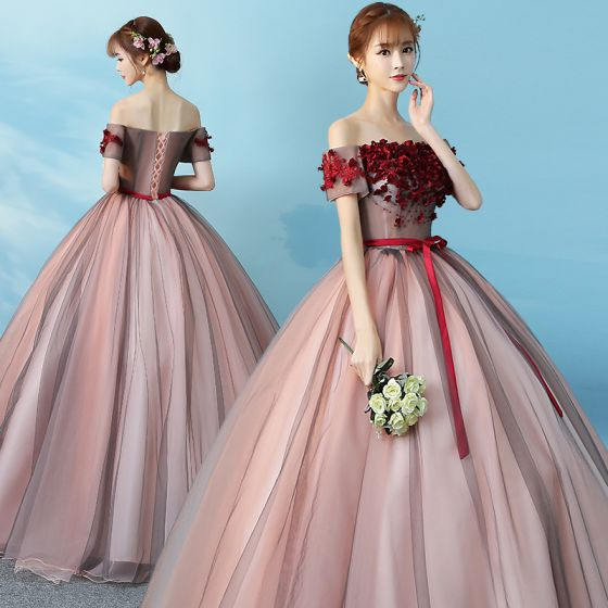 Elegant Blushing Pink Quinceañera Prom Dresses 2019 Ball Gown Off-The-Shoulder Appliques Lace Flower Bow Short Sleeve Backless Floor-Length / Long Formal Dresses