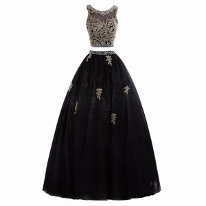 Sparkly 2 Piece Black Gold Prom Dresses 2017 Ball Gown Sleeveless Scoop Neck Beading Sequins Appliques Lace Glitter Tulle Floor-Length / Long Formal Dresses