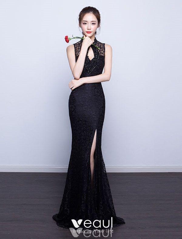 Sexy Mermaid Evening Dress 2017 Backless Black Formal Dress