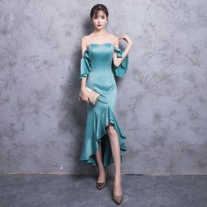 Modern / Fashion Jade Green See-through Evening Dresses  2018 Trumpet / Mermaid Scoop Neck Strapless 3/4 Sleeve Asymmetrical Ruffle Backless Formal Dresses