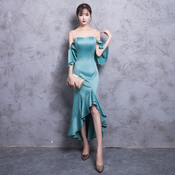 Modern / Fashion Jade Green See-through Evening Dresses  2018 Trumpet / Mermaid Scoop Neck Strapless 3/4 Sleeve Asymmetrical Ruffle Backless Formal Dresses