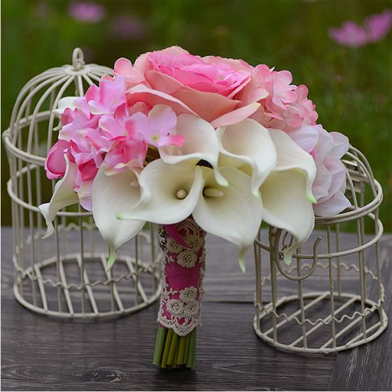 Wedding Accessories Bridal Bouquets Holding Flower Artificial Silk Calla Lily Flowers