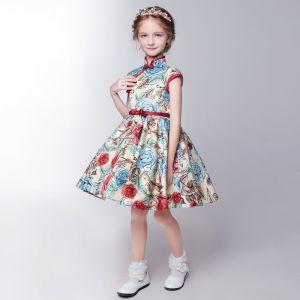 Chinesischer Stil Saal Kleider Für Hochzeit 2017 Mädchenkleider Farbverlauf Kurze A Linie Drucken Stehkragen Ärmellos Schleife Stoffgürtel