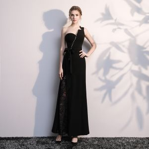 Modern / Fashion Black Evening Dresses  2017 Trumpet / Mermaid One-Shoulder Backless Beading Polyester Evening Party Formal Dresses