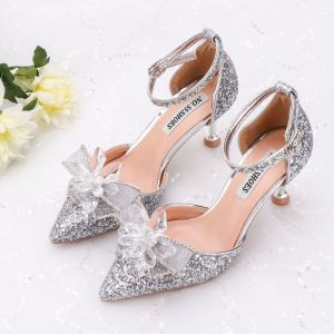 Sparkly Silver Wedding Shoes 2020 Crystal Rhinestone Sequins Ankle Strap 6 cm Stiletto Heels Pointed Toe Wedding High Heels