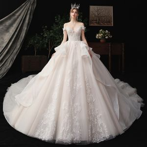 Chic / Beautiful Champagne Bridal Wedding Dresses 2020 Ball Gown Off-The-Shoulder Short Sleeve Backless Appliques Lace Beading Glitter Tulle Cathedral Train Ruffle