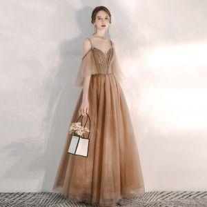 Elegant Brown Evening Dresses  2020 A-Line / Princess Spaghetti Straps Deep V-Neck 1/2 Sleeves Beading Glitter Tulle Floor-Length / Long Ruffle Backless Formal Dresses