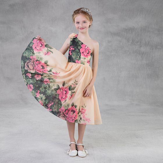 Farbig Drucken Chiffon Champagner Mädchenkleider 2018 A Linie One-Shoulder Ärmellos Wadenlang Rückenfreies Kleider Für Hochzeit
