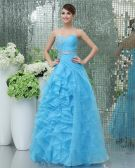 Yarn Beading Layered Sweetheart Floor Length Prom Dress