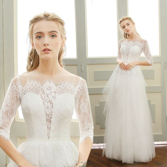 Elegant Beach Wedding Dresses 2017 White A-Line / Princess Floor-Length / Long Scoop Neck 1/2 Sleeves Backless Lace Appliques
