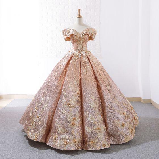Błyszczące Różowe Złoto Taniec Sukienki Na Bal 2020 Suknia Balowa Przy Ramieniu Kótkie Rękawy Aplikacje Kwiat Frezowanie Długie Wzburzyć Bez Pleców Sukienki Wizytowe