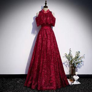 Chic / Beautiful Burgundy Evening Dresses  2020 A-Line / Princess High Neck Sleeveless Beading Glitter Polyester Floor-Length / Long Ruffle Formal Dresses