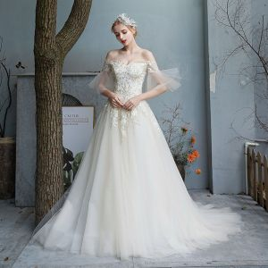 Affordable Champagne Outdoor / Garden Wedding Dresses 2019 A-Line / Princess Off-The-Shoulder Bell sleeves Backless Appliques Lace Sequins Beading Pearl Sweep Train Ruffle
