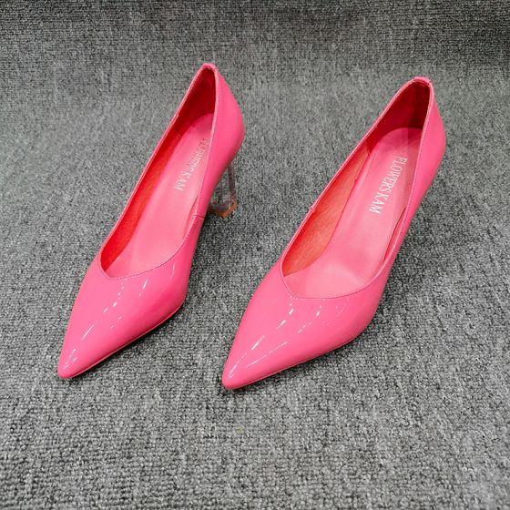 Chic Rose Bonbon Soirée Escarpins 2020 Cuir 7 cm Talons Aiguilles À Bout Pointu Escarpins