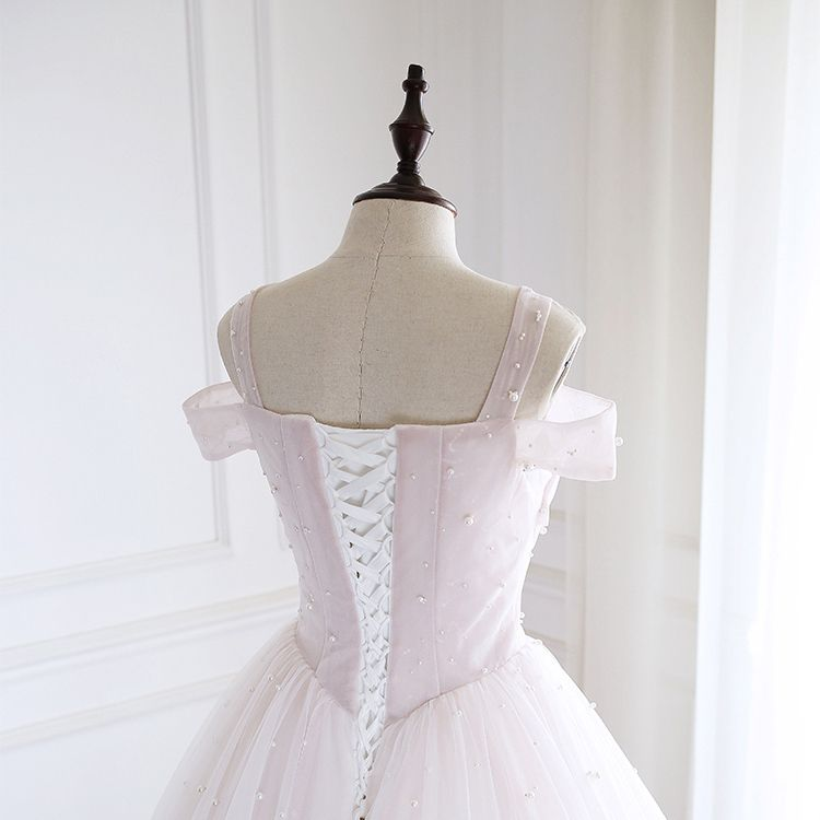 High-end Pearl Pink Prom Dresses 2020 A-Line / Princess Shoulders Short Sleeve Beading Pearl Floor-Length / Long Ruffle Backless Formal Dresses