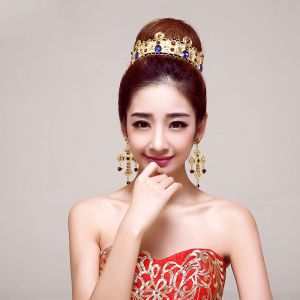 Golden Retro Bridal Jewellery Wedding Tiara /Charm Earrings Bride Wedding Headdress