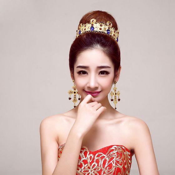 Golden Retro Bridal Jewellery Wedding Tiara /Charm Earrings Bride Wedding Headdress