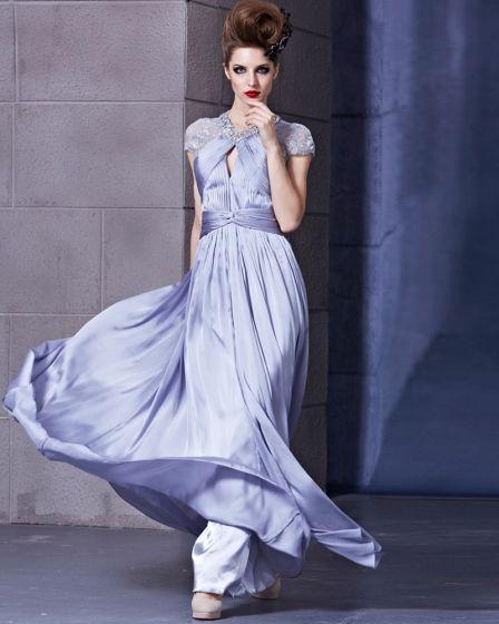 Charmeuse Satin Beading Portrait Sleeveless Backless Floor Length Pleated Evening Dress
