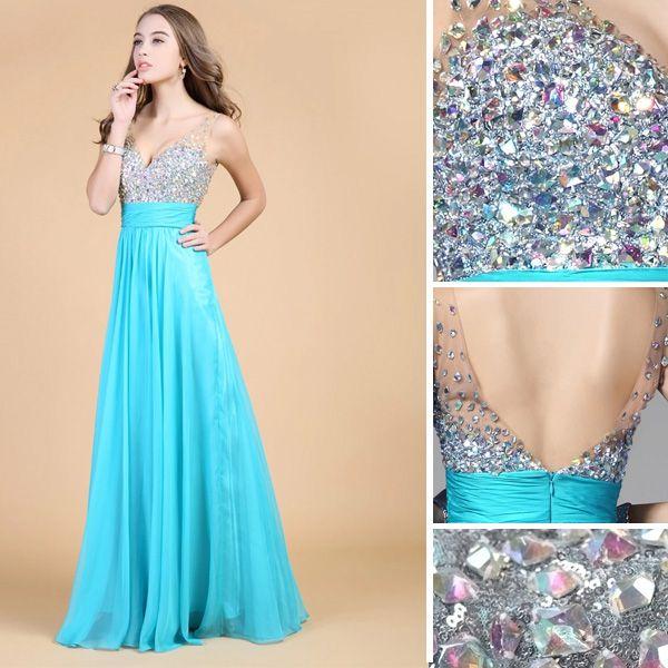 2015 Shoulders Sweetheart Sleeveless Floor Length Beading Chiffon Party Dress Prom Dress