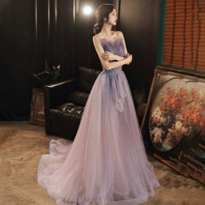 Elegant Lavender Evening Dresses  2020 A-Line / Princess Sweetheart Sleeveless Beading Glitter Tulle Sweep Train Backless Formal Dresses