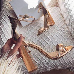 Minimaliste Doré Vêtement de rue Sandales Femme 2020 Bride Cheville 11 cm Talons Épais Peep Toes / Bout Ouvert Sandales
