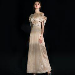 Bling Bling Champagne Evening Dresses  2019 A-Line / Princess Scoop Neck Bow Short Sleeve Beading Tassel Rhinestone Sash Floor-Length / Long Ruffle Backless Glitter Formal Dresses
