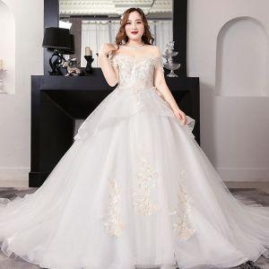Romantique Blanche Robe Boule Grande Taille Robe De Mariée 2019 En Dentelle Tulle Dos Nu Perlage Bustier Chapel Train Mariage