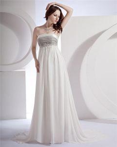 Empire Strapless Watteau Train Chiffon Satin Paris Hilton Celebrity Dress