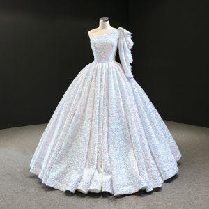 Luxe Blanche Paillettes Robe De Bal 2020 Robe Boule Une épaule Sans Manches Longue Dos Nu Robe De Ceremonie