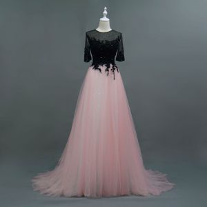 Sparkly Pearl Pink Evening Dresses  2018 A-Line / Princess Beading Lace Flower Scoop Neck 1/2 Sleeves Sweep Train Formal Dresses