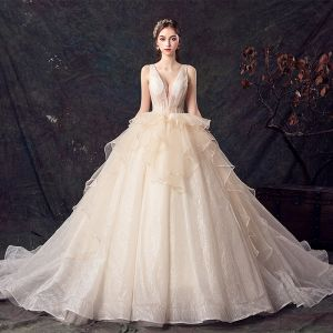 Chic / Beautiful Champagne Wedding Dresses 2019 Ball Gown See-through Deep V-Neck Sleeveless Backless Glitter Tulle Chapel Train Ruffle