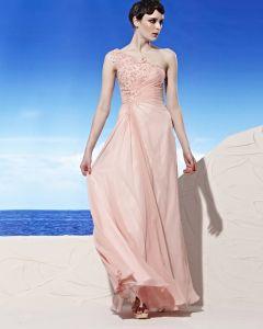 One Shoulder Applique Sleeveless Backless Ruffle Floor Length Tencel Woman Evening Dresses