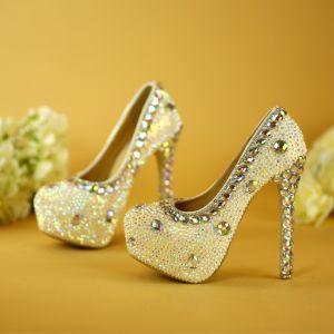 Sparkly White Wedding Shoes 2019 Crystal Rhinestone 14 cm Stiletto Heels Pointed Toe Wedding Pumps
