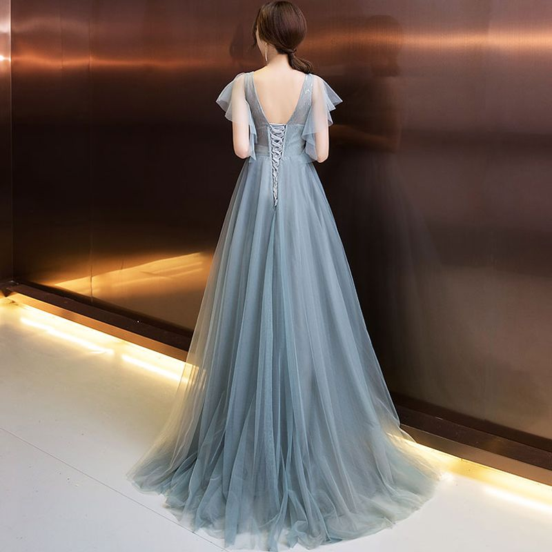 Elegant Evening Dresses  2018 A-Line / Princess Appliques Beading Crystal Pearl V-Neck Backless Short Sleeve Floor-Length / Long