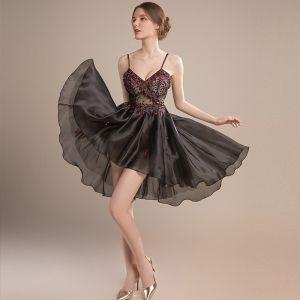 Sexy Black See-through Organza Cocktail Dresses 2018 A-Line / Princess Sleeveless Spaghetti Straps Beading Asymmetrical Ruffle Backless Formal Dresses