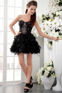2015 Fashion Princess Short Organza Satin Black Cocktail Dresses