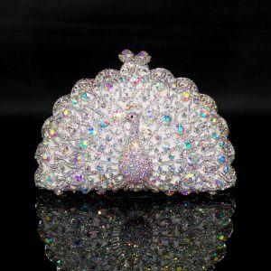Glitzernden Bling Bling Silber Clutch Tasche Perlenstickerei Strass Handgefertigt Leder Hochzeit Cocktail Abend Brautaccessoires 2019