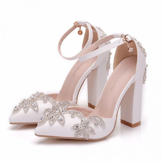 e26f7786864684 modern-fashion-white-wedding-shoes-2018-rhinestone-ankle-strap-10-cm-thick- heels-pointed-toe-wedding-high-heels-560x560.jpg