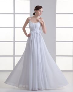 Chiffon Ruffle Bow Scoop Floor Length Pleated Empire Wedding Dress