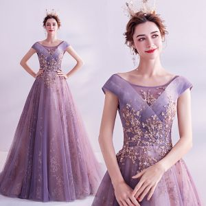 Fashion Purple Glitter Prom Dresses 2020 A-Line / Princess Scoop Neck Sequins Pearl Rhinestone Lace Flower Sleeveless Backless Sweep Train Formal Dresses