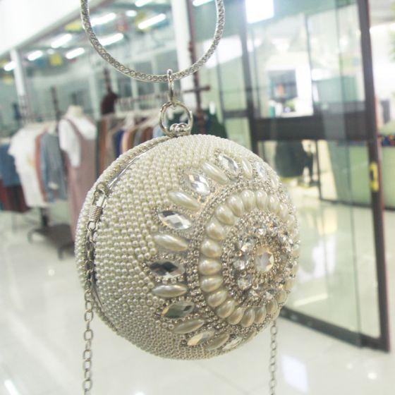 Chic / Beautiful Silver Round Clutch Bags 2020 Metal Beading Pearl Rhinestone