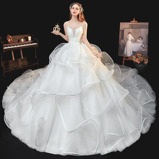Best White Bridal Wedding Dresses 2020 Ball Gown Sweetheart Sleeveless Backless Beading Cathedral Train Ruffle