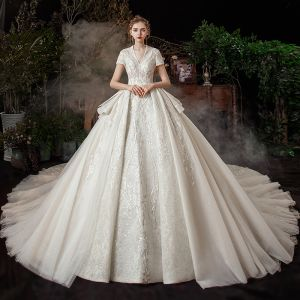 Vintage / Retro Ivory Bridal Wedding Dresses 2020 Ball Gown V-Neck Short Sleeve Backless Sequins Beading Glitter Tulle Cathedral Train Ruffle