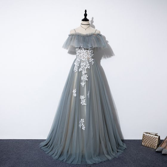 Flower Fairy Grey Prom Dresses 2020 A-Line / Princess Off-The-Shoulder Short Sleeve Appliques Flower Beading Floor-Length / Long Backless Formal Dresses