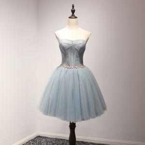Mode Grau Blau Cocktailkleider 2017 Fallende Rüsche Kurze Ballkleid Herz-Ausschnitt Ärmellos Rückenfreies Kristall Stoffgürtel Festliche Kleider