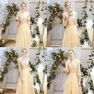Chic / Belle Champagne Robe Demoiselle D'honneur 2019 Princesse Glitter Paillettes Longue Volants Robe Pour Mariage